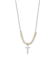 Mini pearl cross necklace