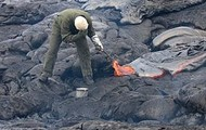 A Volcanologist at work.