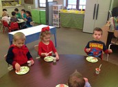 Enjoying our fruit salad with Ms. Jen's class!