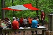 In the outdoor classroom with Mr. Ewert.