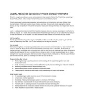 PAID Quality Assurance Specialist/ Junior Project Manager Internship