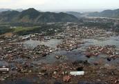 Damage after a tsunami wave