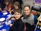 Ty and Ms. Harrington during their class Valentine's party.