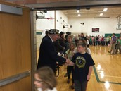 Students shook hands with the Veterans as they left the assembly.