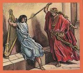 שאול מנסה להרוג את דוד על-ידי החנית, אך ללא הצלחה