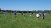 7th graders having a massive football game