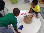 Working on one to one correspondence in the math game center