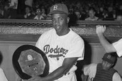 Jackie Robinson with his award