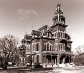 Black and white Vaile mansion historic photo