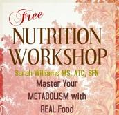 Free Nutrition Workshop: Nov 14 @ 1:00