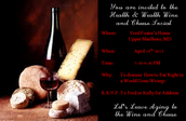 Wine and Cheese on April 19th 7:30PM