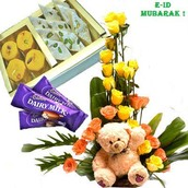 E-id express- 30 Yellow and Orange Roses Basket with 500 Gms Mix Sweeta and 6'' Teddy