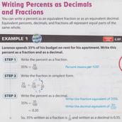 Percents as Decimals and Fractions