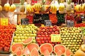 Fui el supermercado y obtuve las frutas.