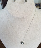 Maya Pendant necklace and Delphie Studs in labrodite