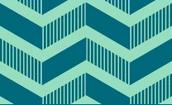 A Dark Blue background with an aqua colored zig-zag design