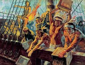 During the Boston Tea Party, the colonists dressed like Indians to disguise their true identites, also to show that they are no longer apart of British rule.