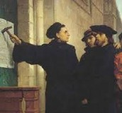 Martin Luther putting the 95 Theses on the Church door