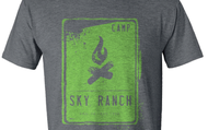 Heather Grey Tee with Green Campfire Print