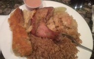 Peas and Rice, Macaroni, Conch and Baked Chicken