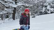 Jamie sledding