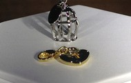 Birdcage + Gold Heart Lock Dangle