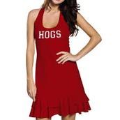 vestido rojo por el famoso Madison