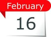 Tuesday, February 16th, 6:00-6:30 pm