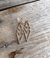 Pave Spear Earrings--Rose Gold