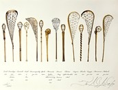 Different kinds of Lacrosse sticks.
