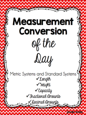 Center 2 - Measurement Conversion of the Day Worksheet