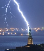 Statue of Liberty Lightning Strike