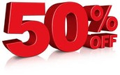 50% OFF for everyone!!!!!!!