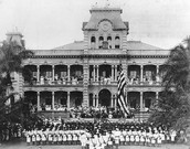 The raising of the flag in Honolulu Hawaii after being added to the U.S