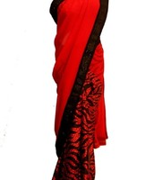 Snake print red saree