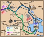map of Paul Revere on his midnight ride