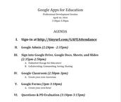 Agenda for the Google PD