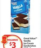 Great Value Ice Cream Sandwhiches, 12 pack