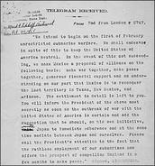 1917- (January) America intercept the Zimmerman telegram