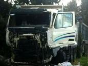 המשאית המעורבת בתאונה