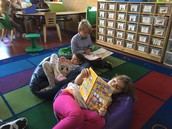 Reading on bean bags during quiet time