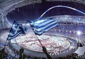 Greece flag with in Stadium