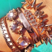 A rose gold arm party :-)