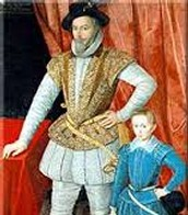 Walter Raleigh as a child with his father.