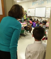Principal Tucker greeting Mrs. Talty's classroom