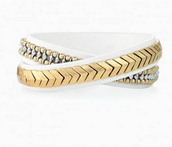Gilded Path Double Wrap Bracelet - White - $30
