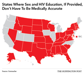 States Where Sex and HIV Education, If Provided, Don't Have To Be Medically Accurate