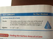 formula to finding the 'surface area of a cone'