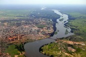 The Nile River from above the land.