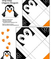 Penguin origami page